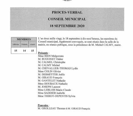 Compte-rendu du conseil municipal du 18 septembre 2020