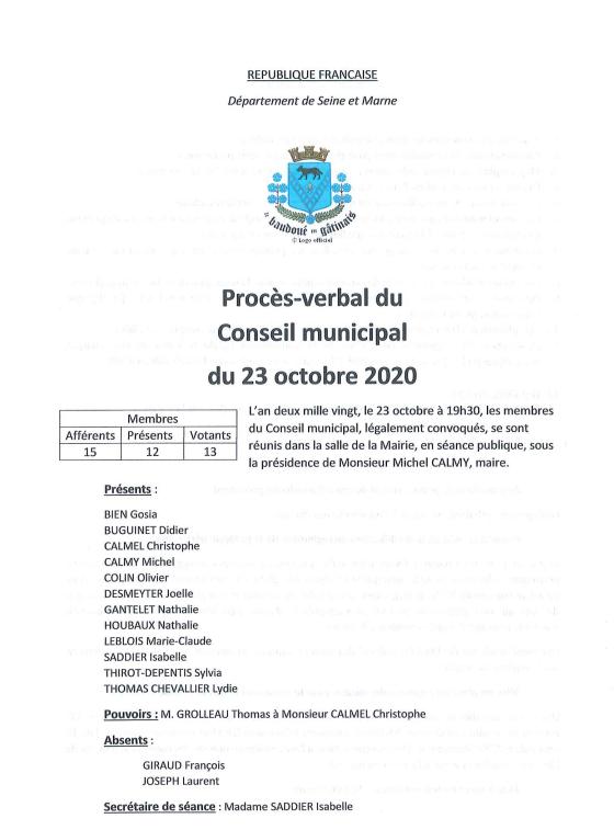 Procès-verbal du Conseil municipal du 23 octobre 2020