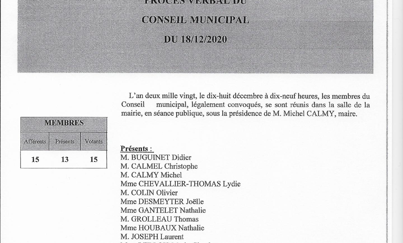 Procès-verbal du Conseil municipal du 18 décembre 2020